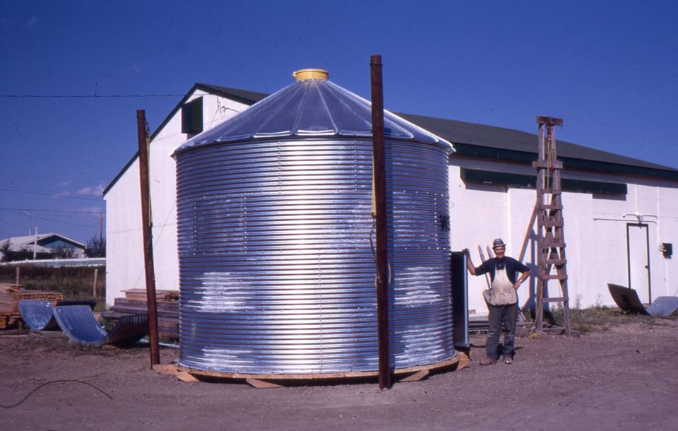 Father building Westco Grain Elevator