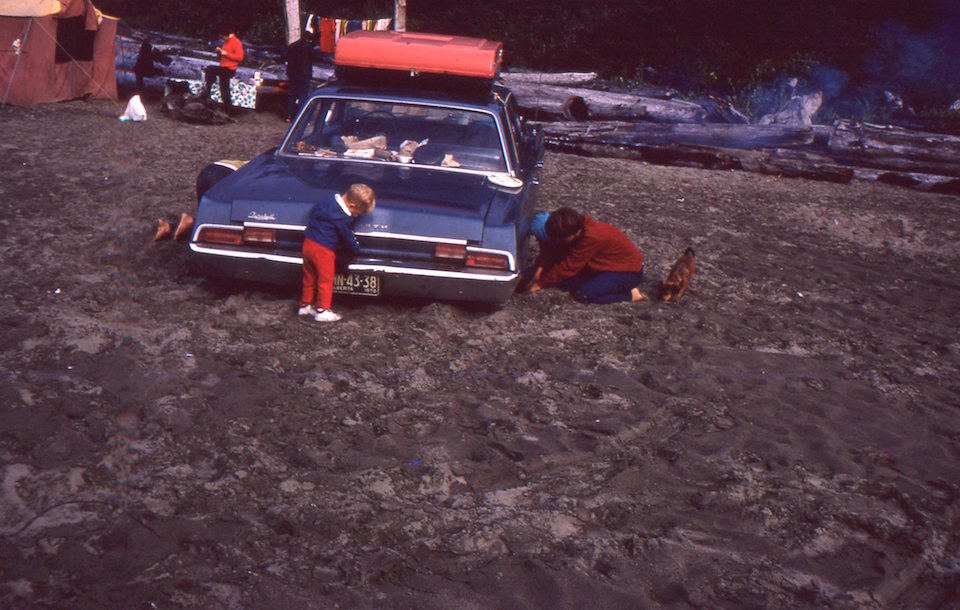 car stuck in sand at Tofino
