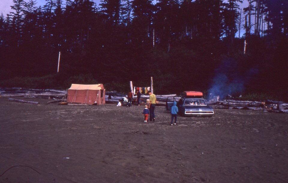 Tenting on the ocean beach at Tofino