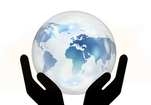 Hands and Globe pixabay Geralt